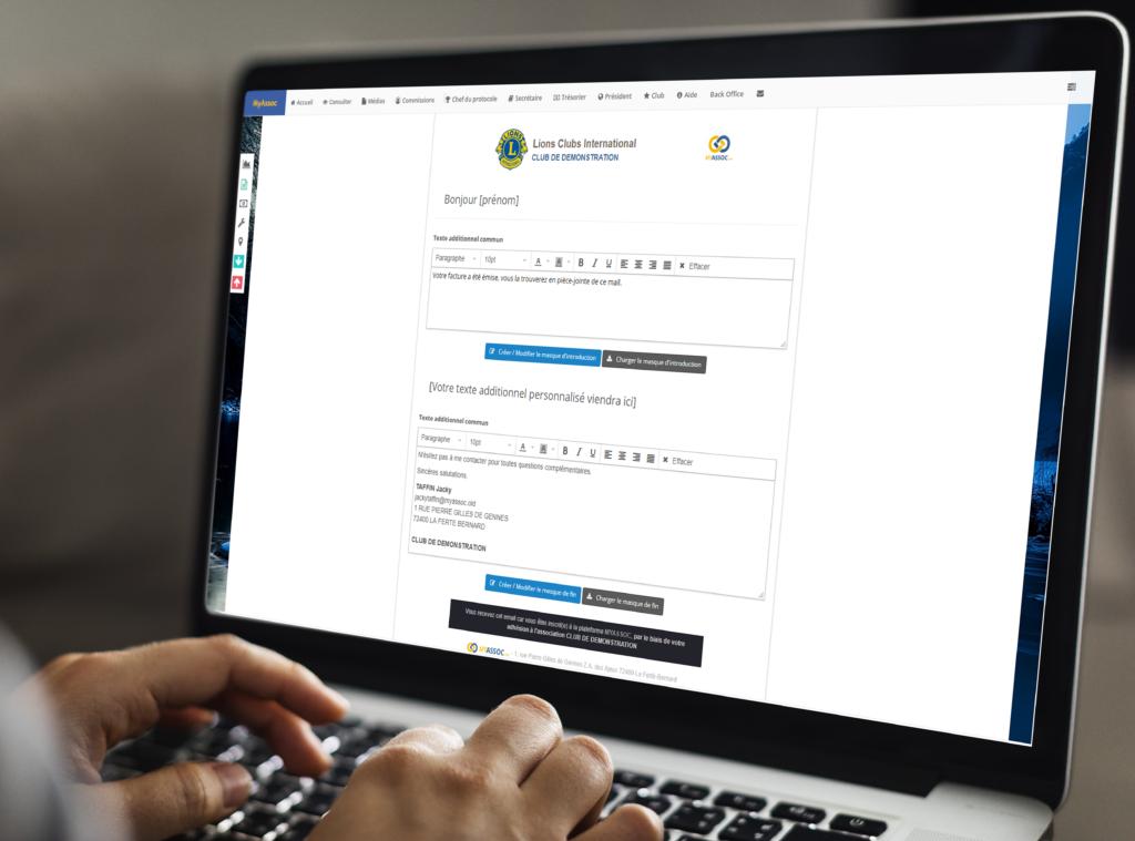 header personnalisation envoi facture article
