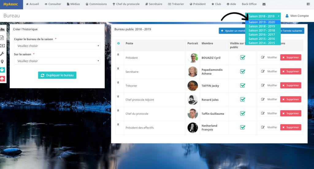 Photo écran choix de la saison menu déroulant