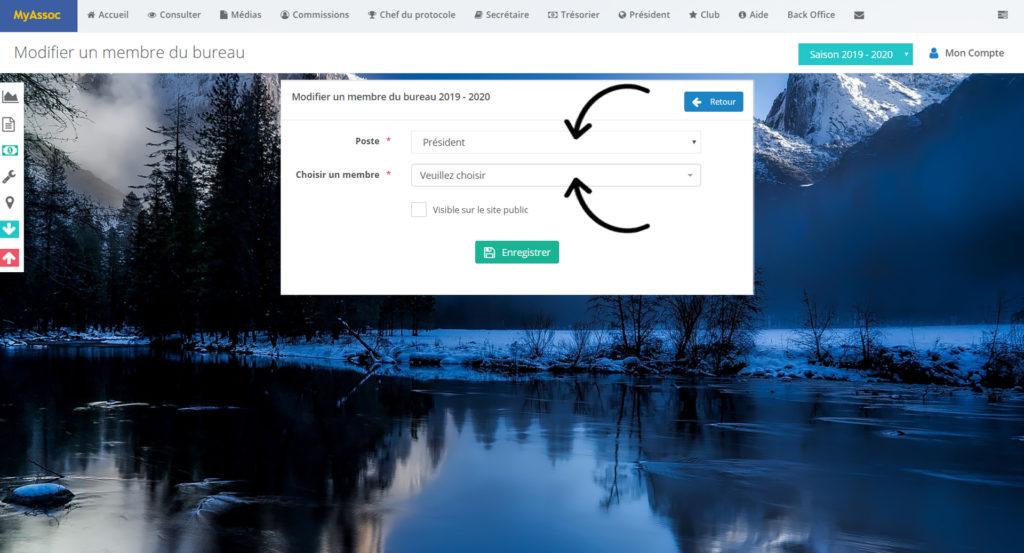 Photo écran modification des postes du bureau