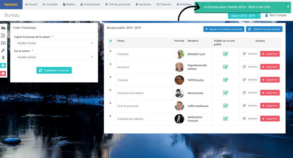 Photo écran message succès nouveau bureau crée