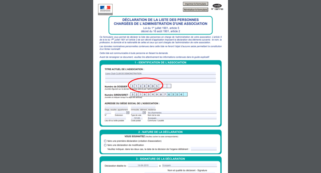 Photo écran CERFA déclaration préfectorale