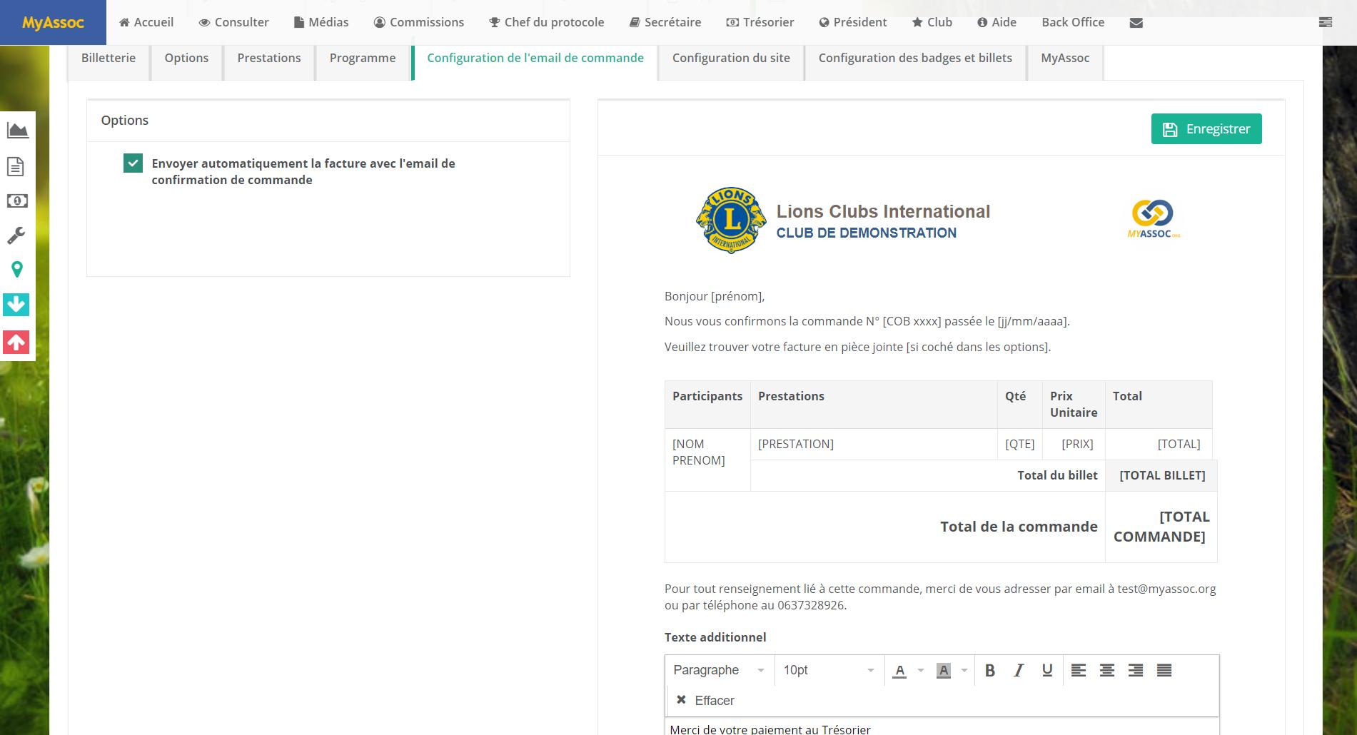 Email de confirmation de commande